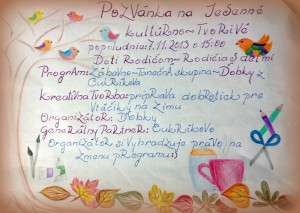 pozvánka na kultúrno tvorivé popoludnie s deťmi